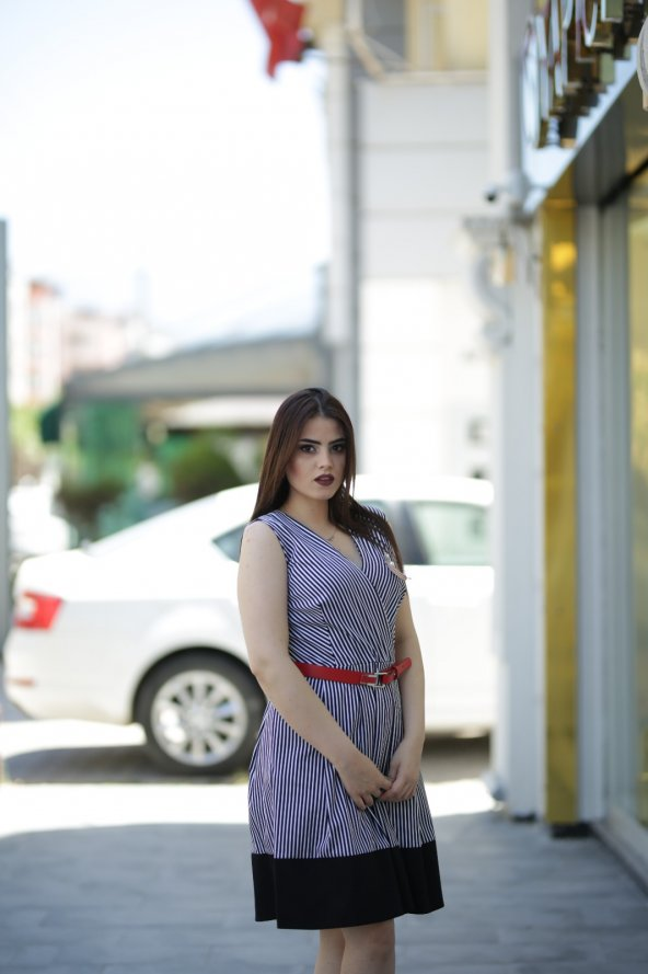 Yazlık Keten Elbise - Renkli