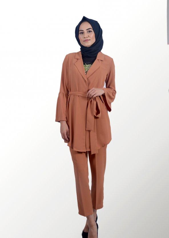 Tesettür Kahverengi Takım Elbise