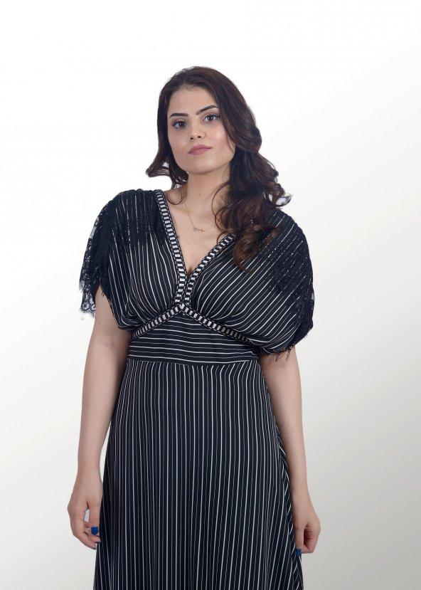 Çizgili Siyah Uzun Elbise