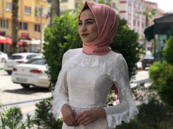 Yazlık Tesettür Abiye Elbise - Beyaz