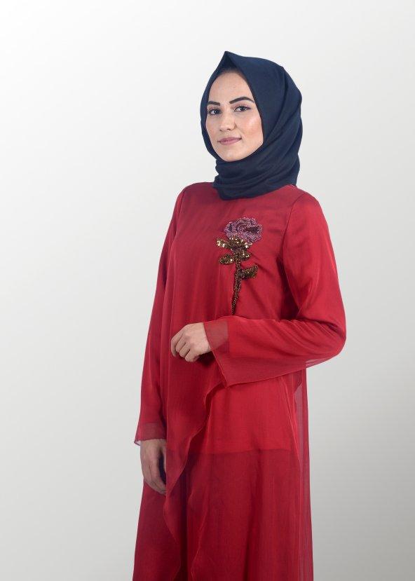 Tesettür Kırmızı Takım Elbise