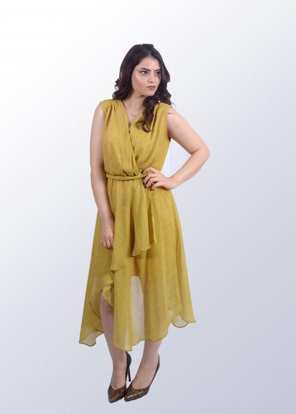 Asimetrik Sarı Elbise