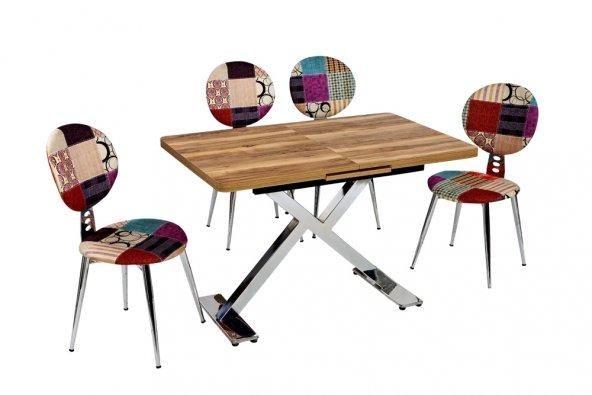 Nilay Ruhunuzu Simgeleyecek Kırkyama 4 Sandalye Ceviz 1 Masa Grubu
