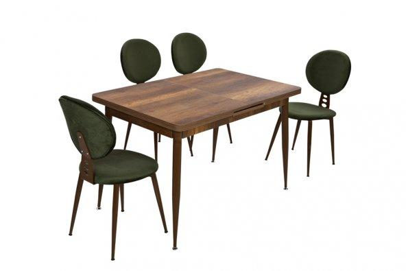 Mimoza Yeşil 4 Kişilik Sandalye Ve Ceviz Dikdörtgen Masa Ölçüleri
