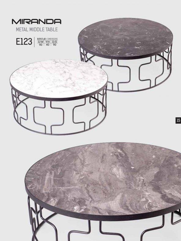 E123 Miranda Beyaz Eskitme Orta Sehpa