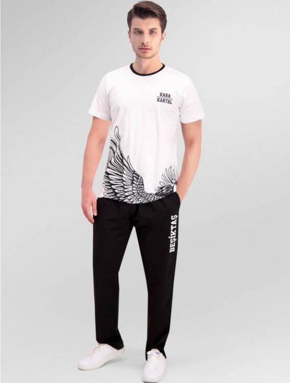 RolyPoly Erkek Lisanslı Beşiktaş Beyaz Pijama Takımı 9975 S