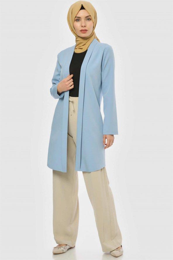 Pervazlı Uzun Bebe Mavi Ceket