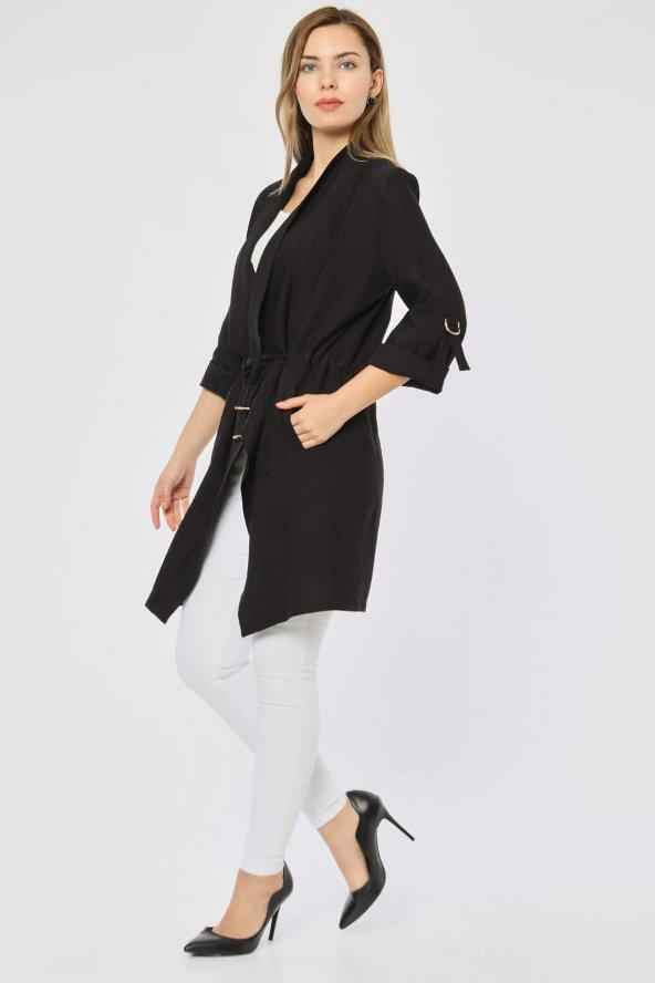 Beli Bağlamalı Siyah Ceket