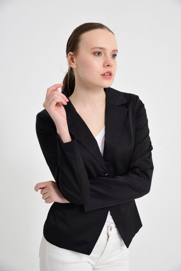 siyah düz manşet detay bayan ceket 2208-4-260