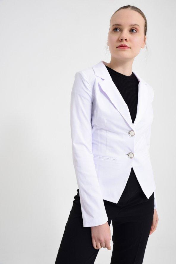 Beyaz  düz renk bayan ceket 2432-4-260