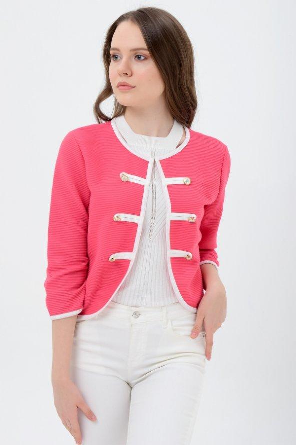 Beyaz şeritli kırmızı bayan ceket 7270-2705-3-933