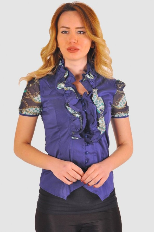 Bayan lacivert  bluz gömlek 4430-2-232