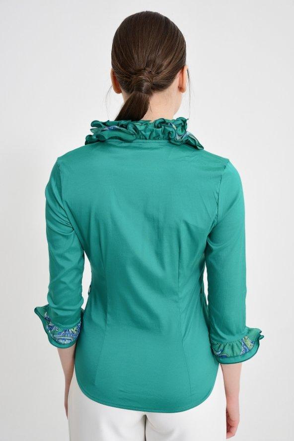 Yeşil fırfırlı bayan bluz 4430-3