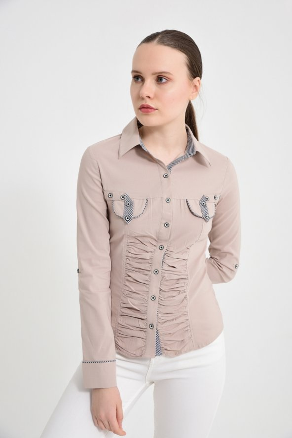 Bayan uzun kol vizon gömlek 4500-2-9