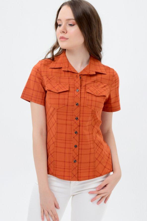 Kiremit kısa kol bayan gömlek  4250-2