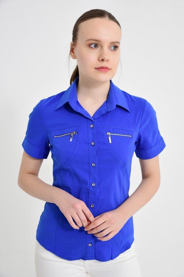 Fermuar cebli saks mavisi bayan gömlek 4745-2