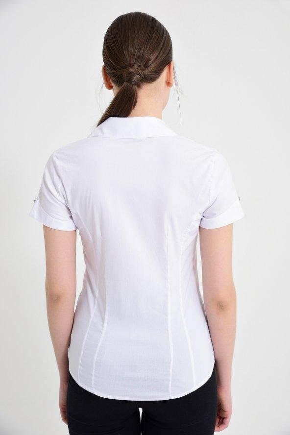 Beyaz kısa kol bayan gömlek 4415-2-9