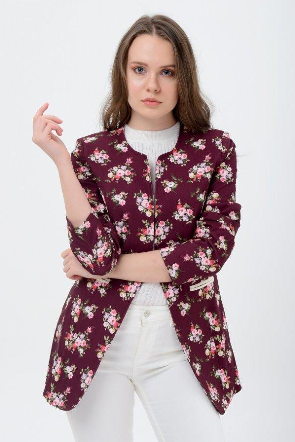 Bayan bordo çiçekli ceket 2605-4