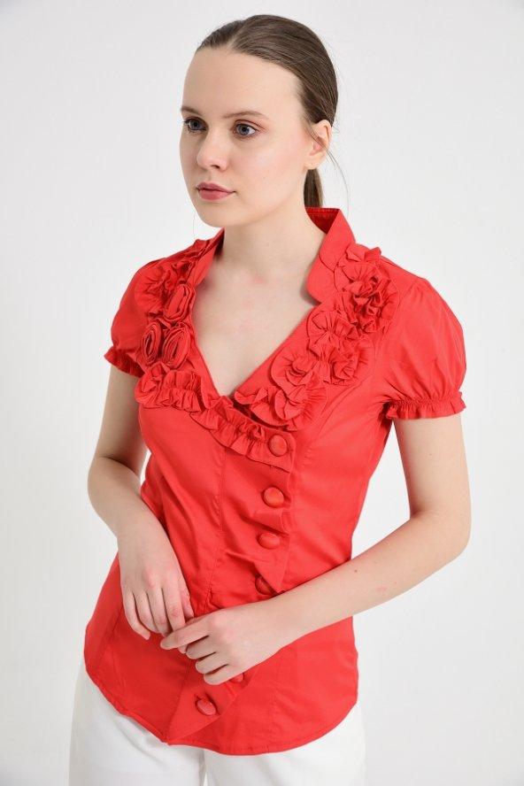 Kırmızı yan düğmeli  bluz 4295-2