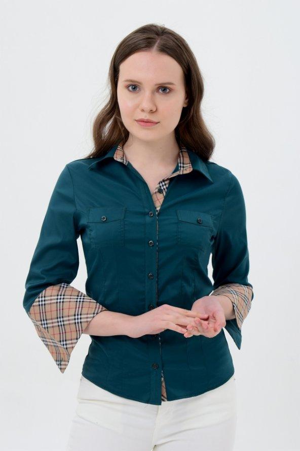 uzun kol yeşil yaka desenli bayan gömlek 4415-3