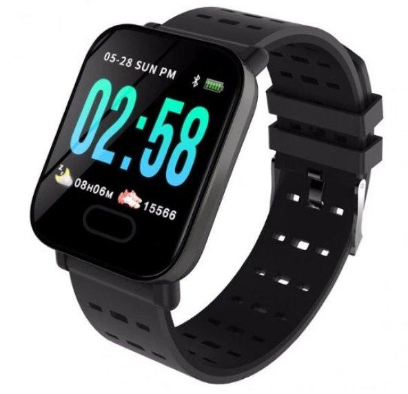 Olix A6 Smart Watch Akıllı Saat Suya Dayanıklı Nabız Ölçer Siyah