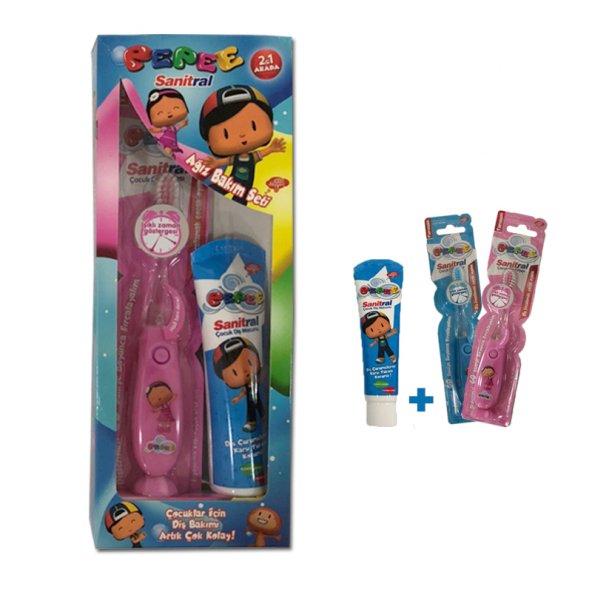 Florürsüz diş macunu & Işıklı Diş Fırçası Seti Sanitral Pepee