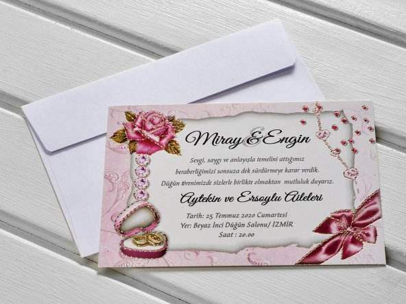 Güllü Simli Düğün Davetiyesi 100 Adet