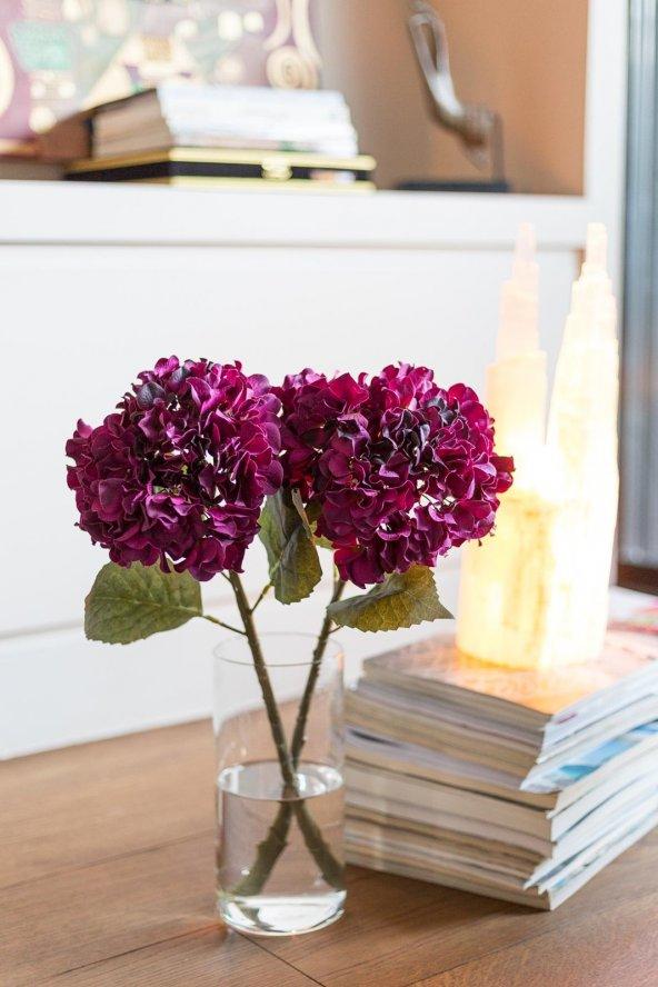 Mor Hydrangea Çiçek