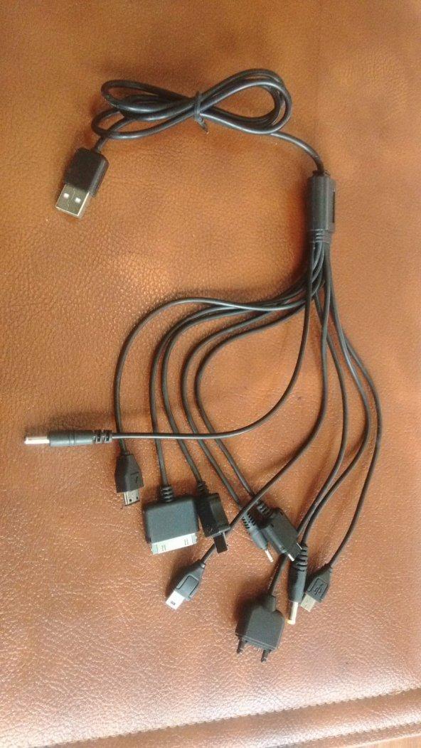2 ALANA 1 HEDİYE ÇOKLU USB ŞARJ KABLOSU 10 IN 1