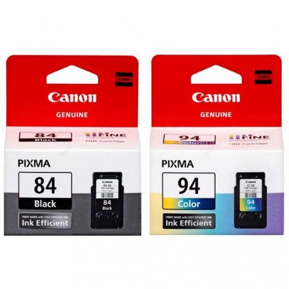 CANON PG-84, CL-94 E514 Siyah ve Renkli Orijinal Kartuş Bitmeyen Kartuş Uyumlu Delikler Hazır