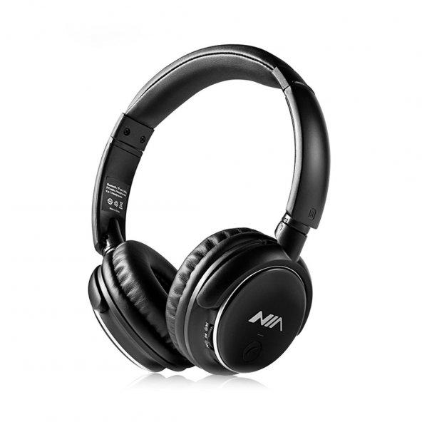 Nia Q1 Fm Radyolu Kablosuz bluetooth Kulaklık Extrabass Siyah