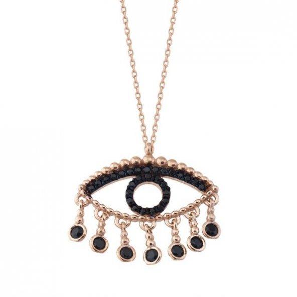 Siyah Taşlı Gümüş Göz Yaşı Pirmoda Gümüş Kolye
