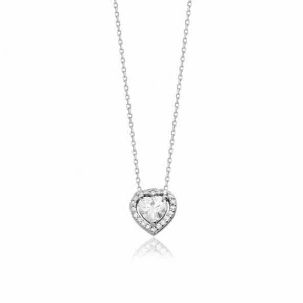 Çok Taşlı Kalp Pirmoda Gümüş Kolye