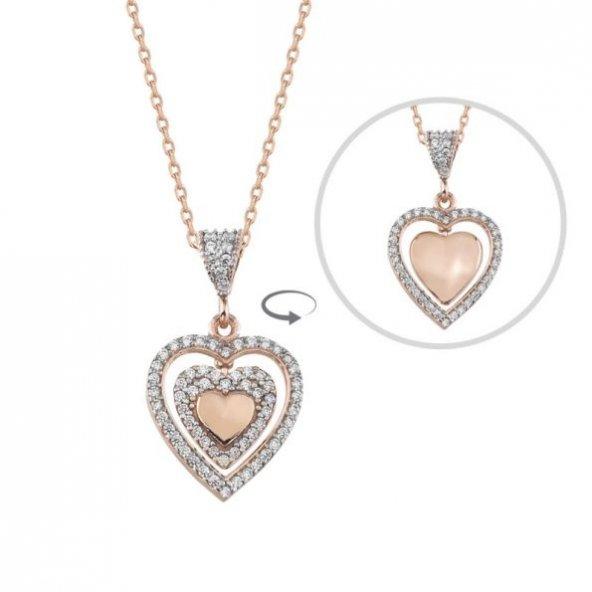 Sallantılı Çift Yönlü Gümüş Kalp Pirmoda Gümüş Kolye