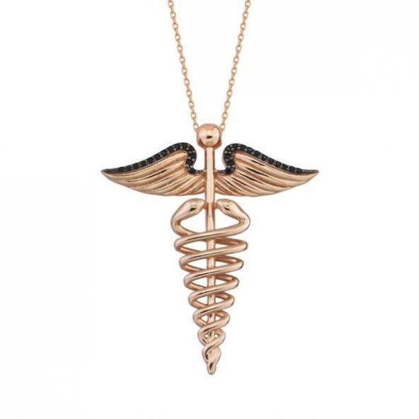 Tıp Simgesi Pirmoda Gümüş Kolye