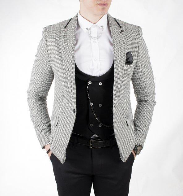 DeepSEA Siyah Desenli Tek Düğme Çift Yırtmaç Dar Kesim Ceket-Yelek Takım 1801933