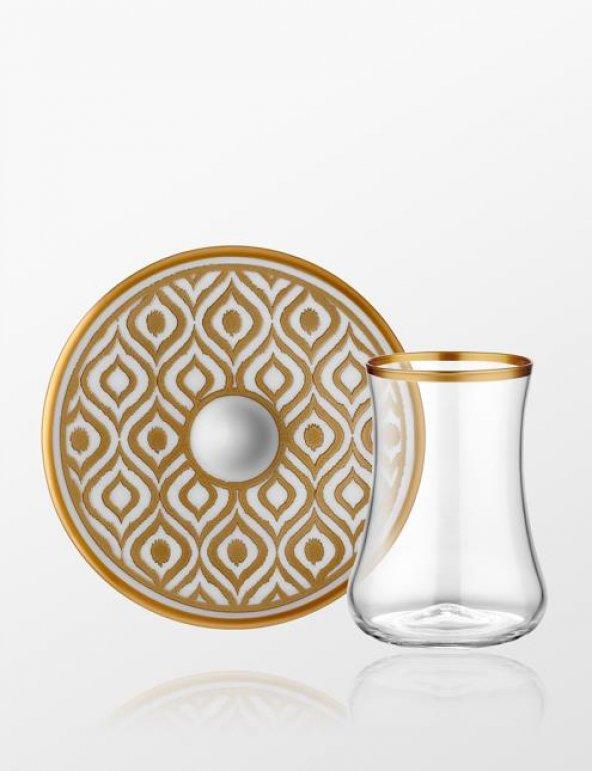 Koleksiyon Dervish Çay Seti 6 Lı İkat Altın