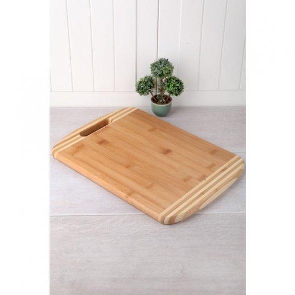 Bambu Lüx 36cm Kesme Tahtası Ahşap Tahta Ekmek Kesme Tahtası