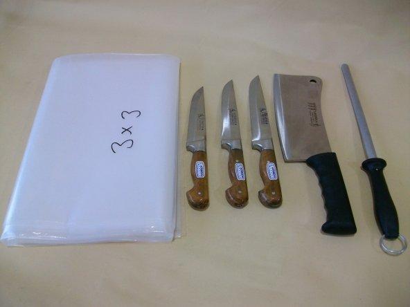 Kurban Bıçak Seti (3 bıçak,Satır,Masat,Naylon Örtü)