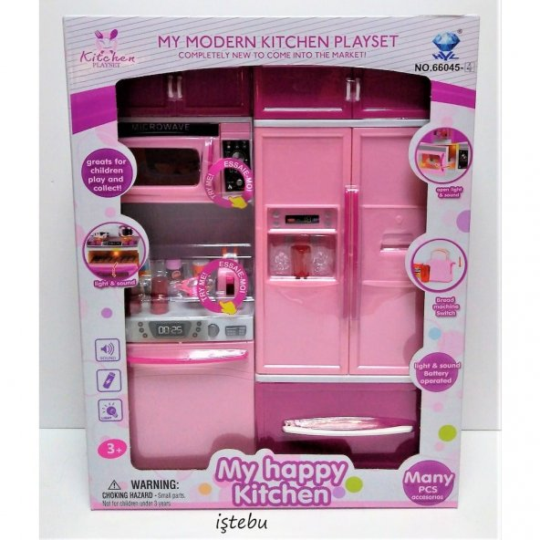 2li Mutfak Seti Evcilik Kız Oyuncak Pilli Oyun Set