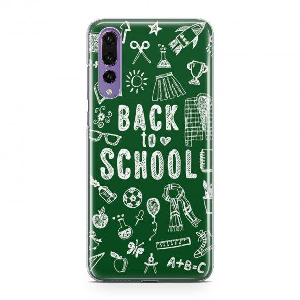 Huawei P20 Pro Kılıf Silikon Arka Koruma Kapak Okula Dönüş Yeşil