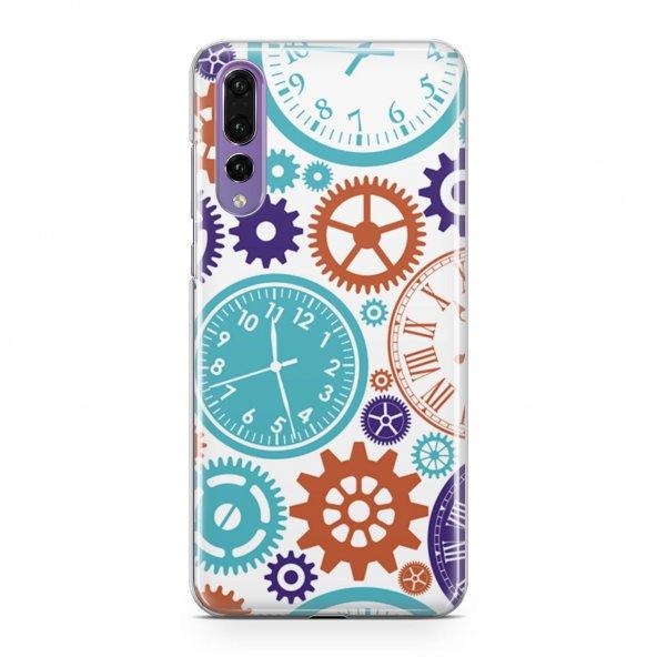 Huawei P20 Pro Kılıf Silikon Arka Koruma Kapak Saatler Desenli