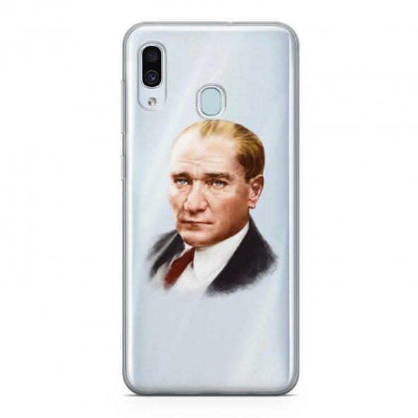 Samsung Galaxy A20 Kılıf Silikon Arka Koruma Kapak Atatürk Portre