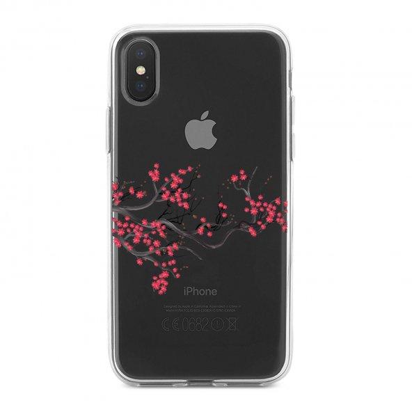 Apple iPhone Xs Kılıf Silikon Arka Koruma Kapak Kiraz Çiçeği Dese