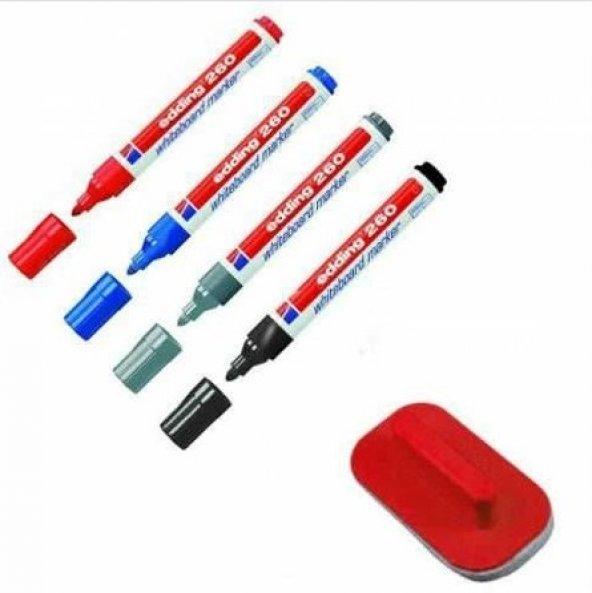Edding 260 Silinebilir Yazı Tahtası Kalemi 4lü + Tahta Silgisi