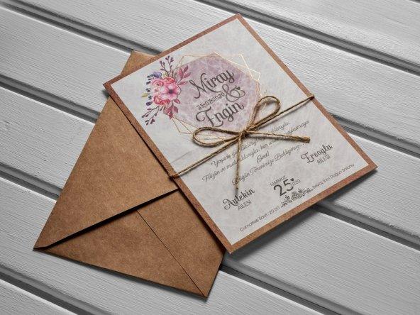 Kraft Çiçekli İpli Düğün Davetiyesi 100 Adet