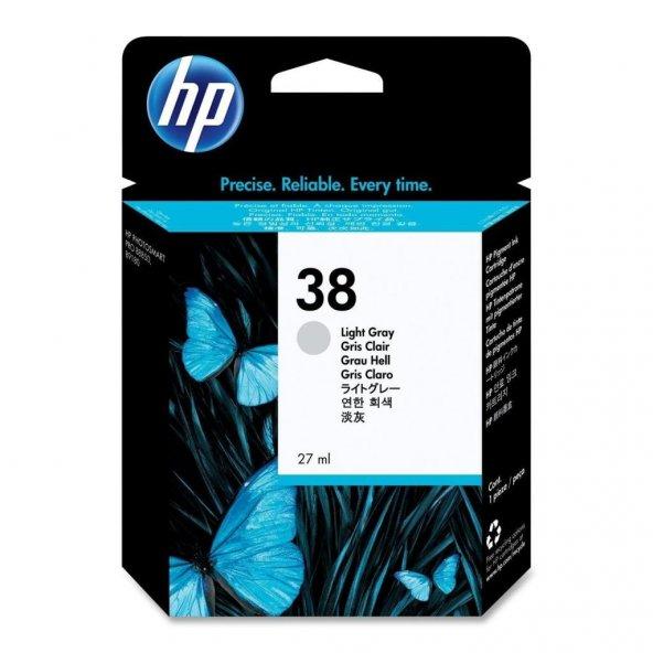 HP 38 Ink Cartridge, 320 Photos, Light Gray C9414A