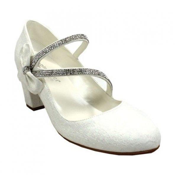 Kadir Ekici Beyaz Taşlı Ayakkabı