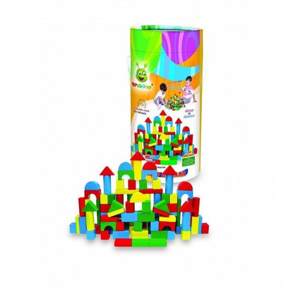 Ahşap Lego Orjinal Woodoy 100 Parça Kovalı Eğitici Renkli Bloklar