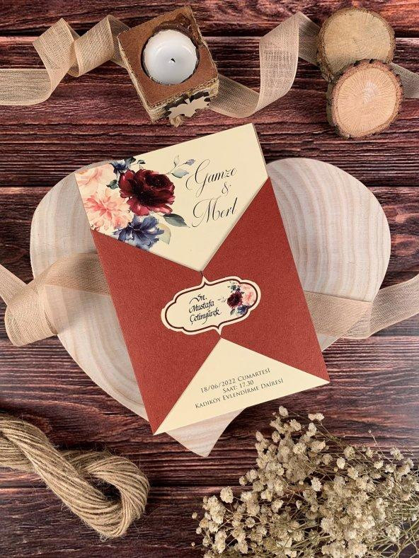 Bordo Zeminli Çiçekli Düğün Ve Nişan Davetiyesi 100 Adet